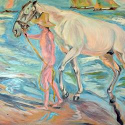 Hombre y su caballo en el mar