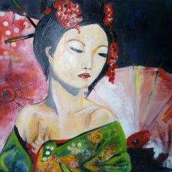 Mujer con sombrillas rojas