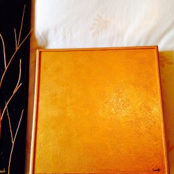 Wooden canvas gold paint