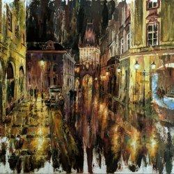 Cuadro de Praga - Paisaje urbano - Pinturas de ciudades de noche