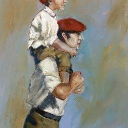 Pelayo a hombros de su padre