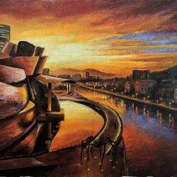 Guggenheim Bilbao - Cuadros en óleo de paisajes marinos impresionistas modernos