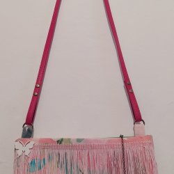 Pink and red tones bag with butterfly.