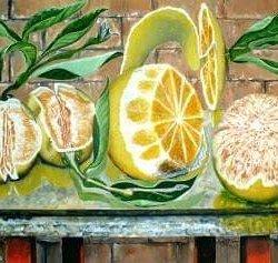 Bodegón de naranjas.