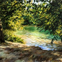 River landscape. Original paintings painted by hand