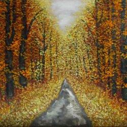 Bosque dorado. Oleo sobre lienzo.