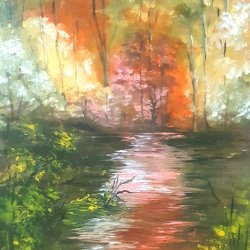 Resplandor de otoño...Pintura 60x40 cm