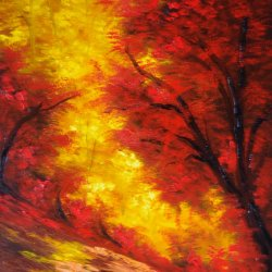 Passion in the forest ... FREE shipping ... Painted landscape, canvas