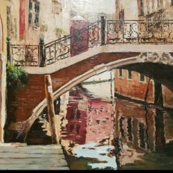 Venice waterway. Bridge.