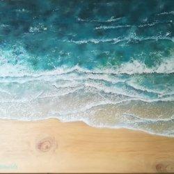 Mar sobre madera