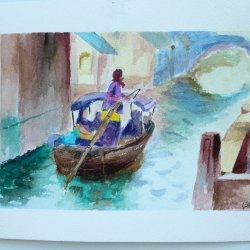 Canal de Venecia en acuarela