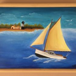 Paisaje al OLEO - Barco en el mar
