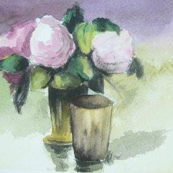 Bodegón flores con vaso
