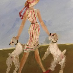 Señora con perros