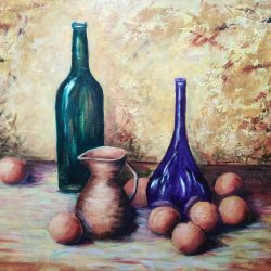 Still life of the purple bottle