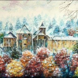 Snowy Roncesvalles. Modern oil paintings for bedrooms. Painted with a spatula