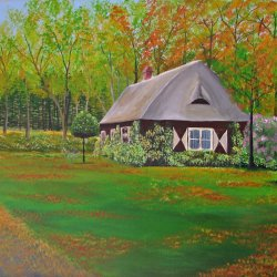 The forest house in autumn