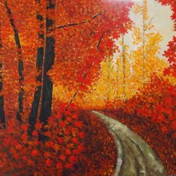 Bosque escarlata, óleo sobre lienzo