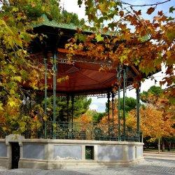 Autumn, music kiosk in Madrid's Retiro Park