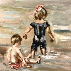 Two children in the sea