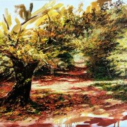 Selva de Irati. Pinturas al óleo de paisajes campestres - Óleos de árboles - Paisajes de otoño pintados al óleo