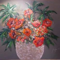 Flowers in maroon