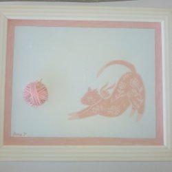 Pink cat, wool relief