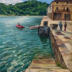 Fishermen in the port of Orio. Oil paintings of coves