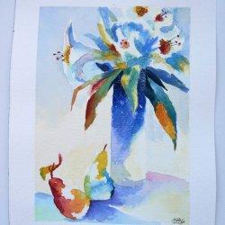 Bodegón flores con peras en acuarela