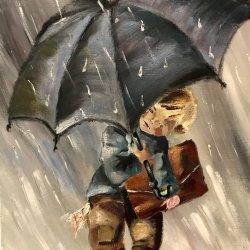 Rain on the way to school