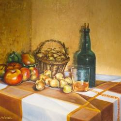 Bodegón con sidra y frutas