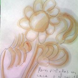 flores pintadas con caca o el cristal magico rosa