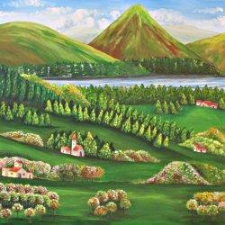 Landscape between mountains