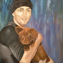 Young man with dog