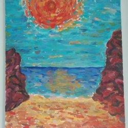 Sol de verano en la playa del acantilado
