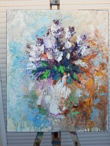 """Oil Painting on canvas """"White Roses"""" 60x50cm, Abstract art, home decor.High quality canvas, wall decoration"""