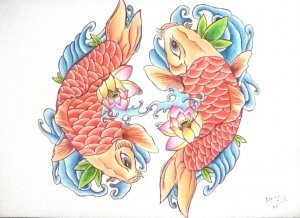 Fish tatoo drawing
