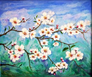 almond blossom over green and blue