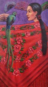 Mujer latinoamericana con Quetzal