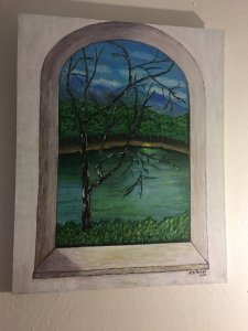 River landscape through large window