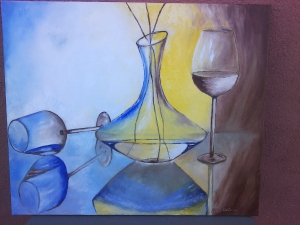 Bodegón con garrafa de vino y copas