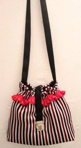 Navy striped bag / orange red
