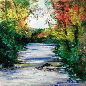 Caída del río en otoño