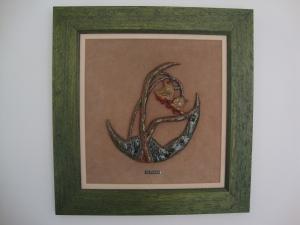 Cuadro cerámica, flores enmarcado en tela