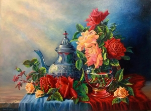 STILL LIFE WITH TEAPOT AND FLOWERS Moruna