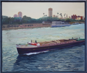 Barge sailing the Nile
