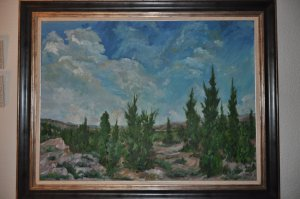 """2 Landscape: Pine trees in the mountains 51.18"""" x 37.8"""""""