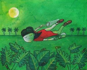 Amelie hunting fireflies