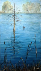 Pond in Diagonal Mar. Original paintings online