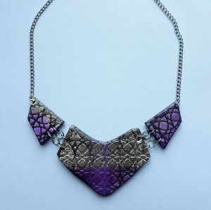 Fantasy Metallic Violet and Silver Necklace
